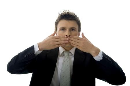 Businessman is making See No Evil, Hear No Evil, Speak No Evil. Stock Photo - 18602993