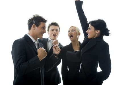 Business team is celebrating their success. photo