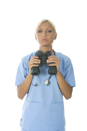 Nurse is trying to diagnose a disease in a weird way. photo