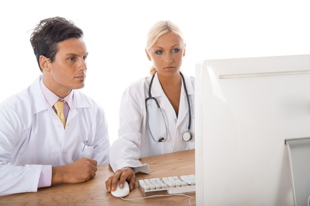 Two professional health workers working on a case. photo