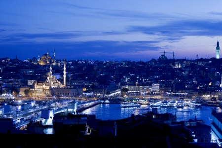 Famous Galata Bridge at Golden Horn in Istanbul, Turkey  photo