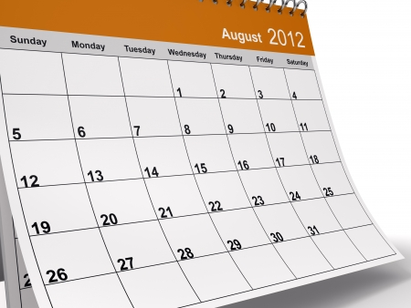 Close-up of 3D desktop calendar for August 2012. photo