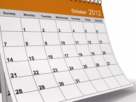 Close-up of 3D desktop calendar for October 2012.  photo