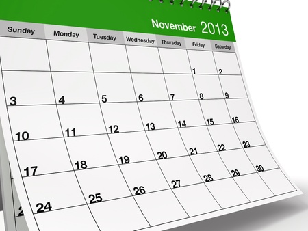 Hi-res 3D folded desktop calendar for November 2013. photo