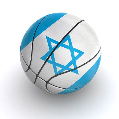 3D basket ball with Israeli flag on white. Stock Photo - 19393325