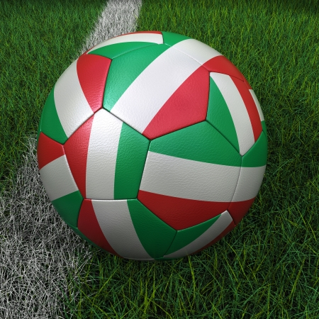 3D soccer ball with Italian flag on green field. photo