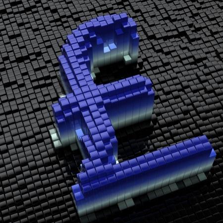 Shining cubes draw English Sterling symbol. Hi-res 3D render. photo