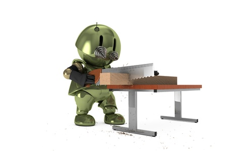 Original 3D character 'Tinman' is cutting wood. Hi-res realistic 3D render. photo