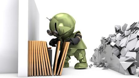 Original 3D character Tinman is choosing a picture frame to hang on a broken wall. Hi-res realistic 3D render. photo