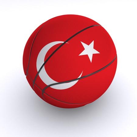 3D basket ball with Turkey flag on white. photo