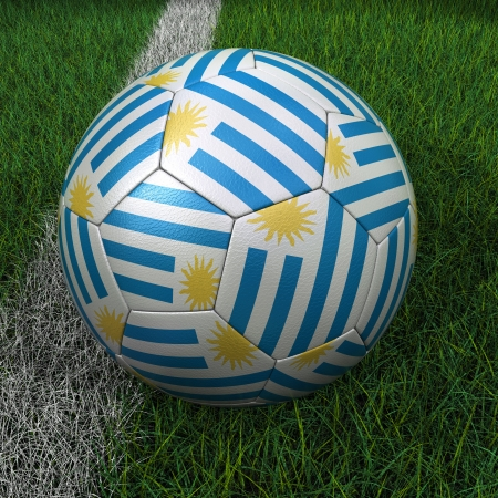 3D soccer ball with Uruguay flag on green field. Stock Photo - 19393604