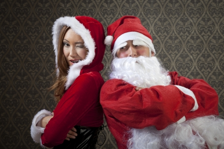 Santa Claus and Mrs. Santa are a very good team together. photo
