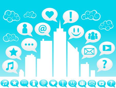 tweet icon: Ciudad con iconos sociales