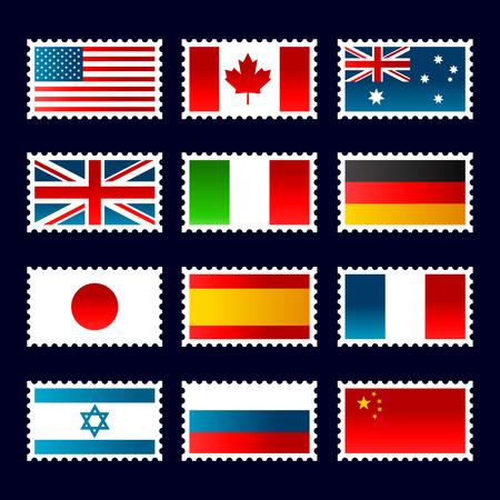 Post zegels die vlaggen van de wereld. Stock Illustratie