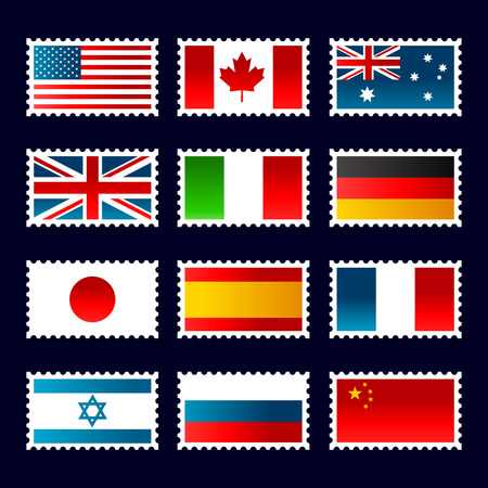 Stamps representing world flags. Çizim