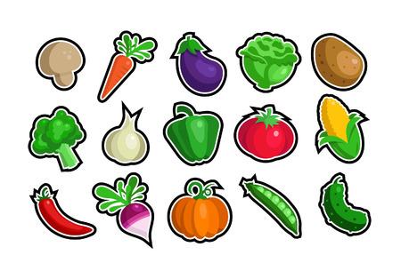 Een set van veggie iconen
