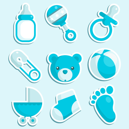 pacifiers: Set of baby boy icons