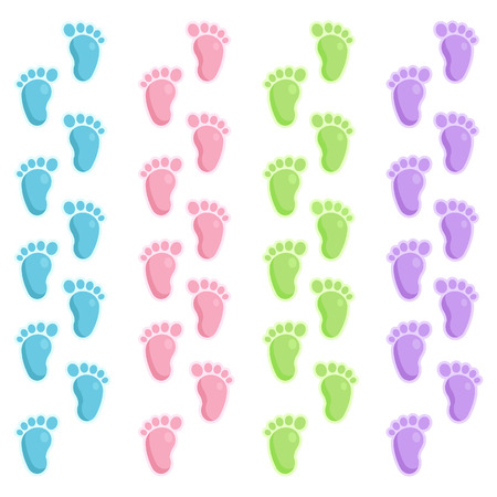 Border set of cute baby foot prints