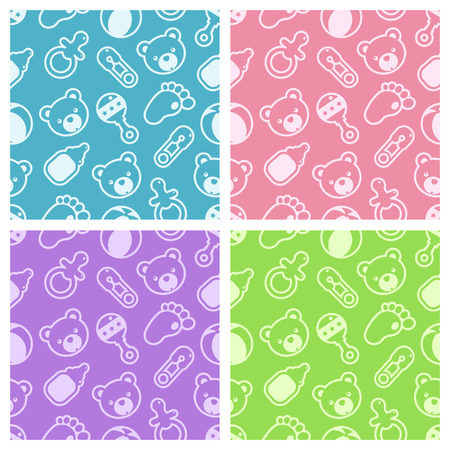 Set of seamless baby shower patterns. Stock Vector - 8341174