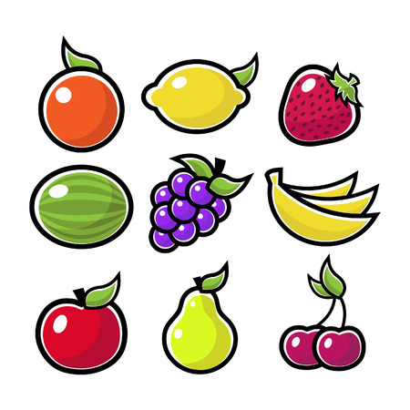 Colorful fruit icons
