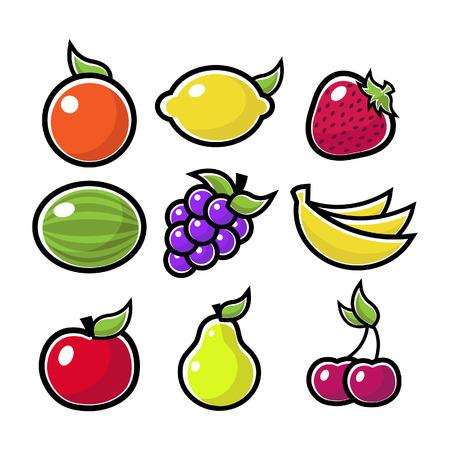 Kleurrijke fruit pictogrammen Stock Illustratie