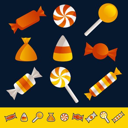 Set of Halloween candy Vettoriali