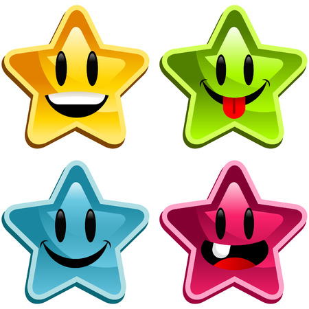 with sets of elements: Set of cute happy stars