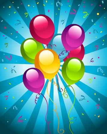 Ilustration of coloful party balloons. Ilustração