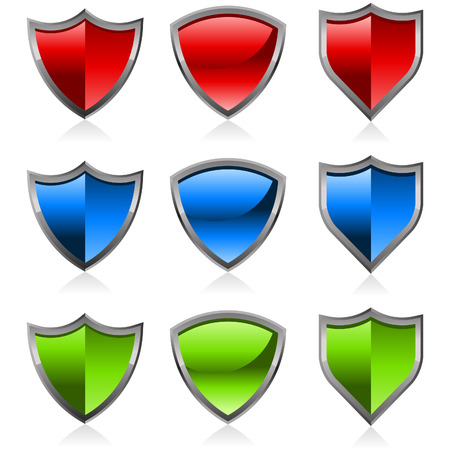 blue button: Set of colorful shiny shields Illustration