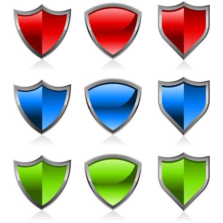 Set of colorful shiny shields 矢量图像