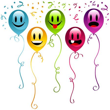 Set of happy birthday balloons