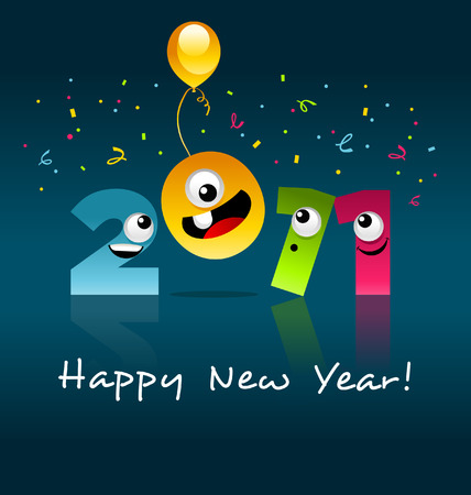 Happy New Year 2011 (cartoon) Stock Vector - 8473225