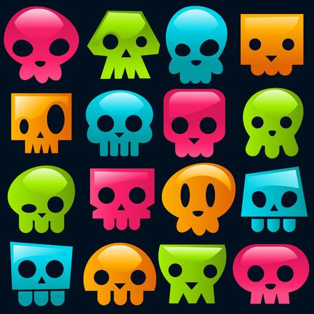 Funky gummy schedel pictogrammen. Stock Illustratie
