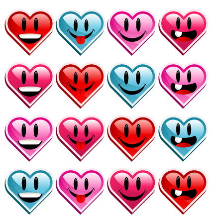 Smiley happy heart icons. Stock Vector - 8473227