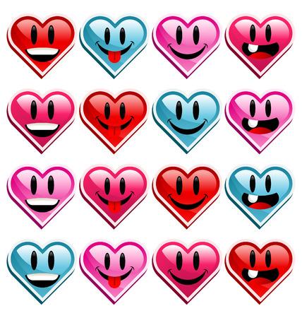 Smiley happy heart icons.