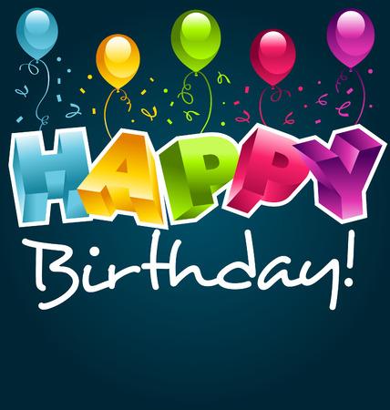 생일 축하 3D 및 풍선 일러스트