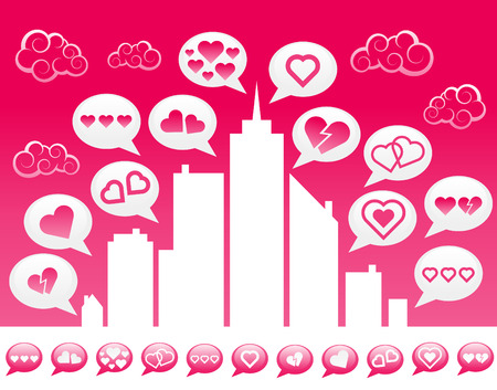 Love City and speech bubble icons.