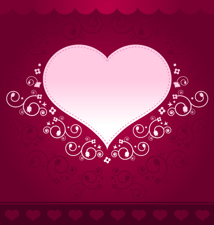 Heart Design on dark pink background Illustration