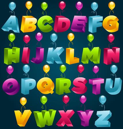 3D Alphabet Party balloons Vector