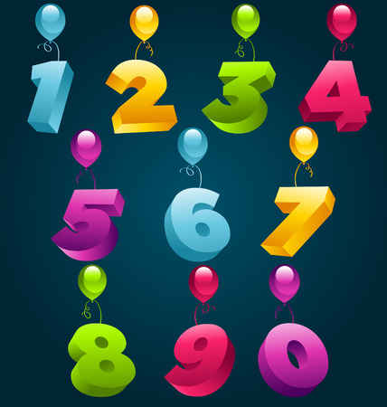 number of people: 3D Numbers Party balloons Illustration