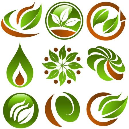 icono ecologico: Conjunto de iconos de Eco verde