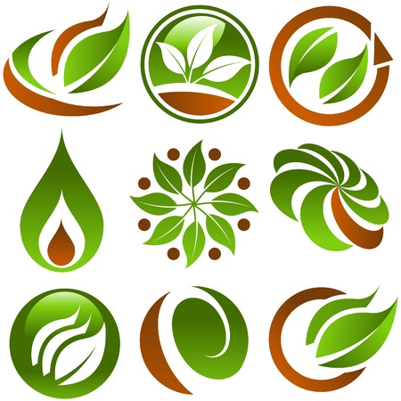 Set of Green Eco Icons Фото со стока - 9405486
