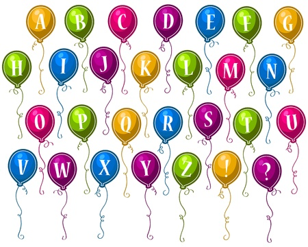 Alphabet Happy Birthday Balloons Ilustrace