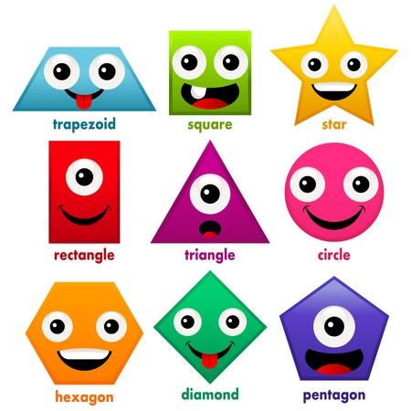 shapes cartoon: Formas b�sicas de educaci�n Diversi�n Vectores