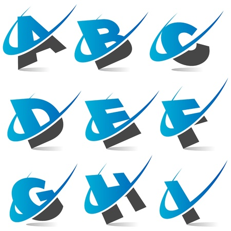 Swoosh Alphabet  Set1 Stock Vector - 11008197