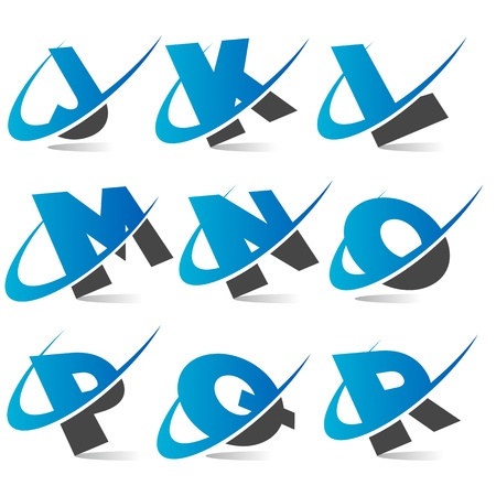 letter j: Swoosh Alphabet  Set2