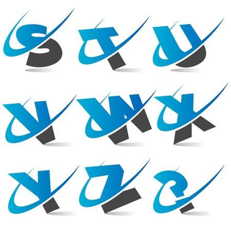 Swoosh Alphabet  Set3 Vector