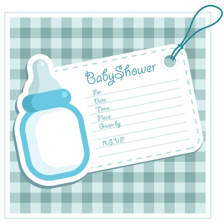 Baby Boy Shower Bottle Invitation Card Vector