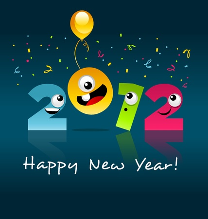2012 New Year Cartoon Vector
