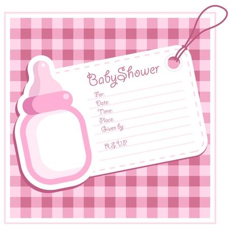 Baby Girl Shower Bottle Invitation Card Vettoriali